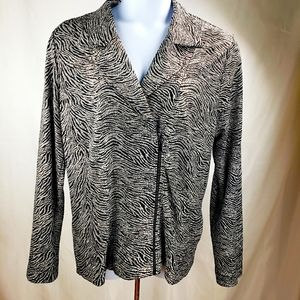 CHICO'S Zebra Print Metallic Travel Jacket